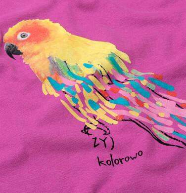 Endo - T-shirt z krótkim rękawem dla dziewczynki, z frędzlami przy rękawach, z papugą, różowa, 2-8 lat D06G094_3 18