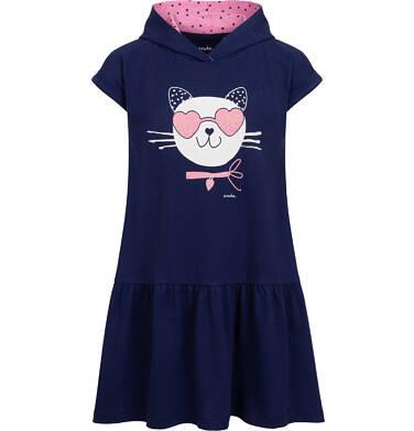 Sukienka z krótkim rekawem i kapturem, z kotem w okularach-sercach, granatowa, 2-8 lat D05H051_1