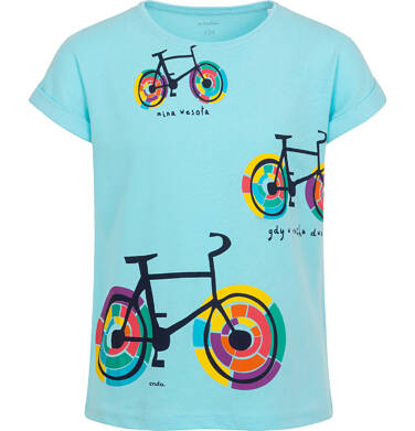 Bluzka z krótkim rękawem dla dziewczynki, z rowerami, niebieska 9-13 lat D05G174_3