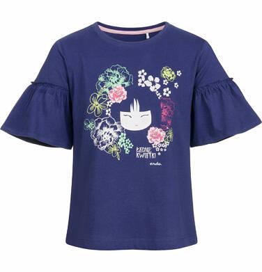 Endo - Bluzka z krótkim rękawem dla dziewczynki, z motywem japońskim, motylkowy rękaw, granatowa, 2-8 lat D03G011_1