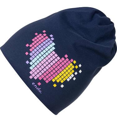Czapka dla dziecka, z sercem, granatowa D04R025_1