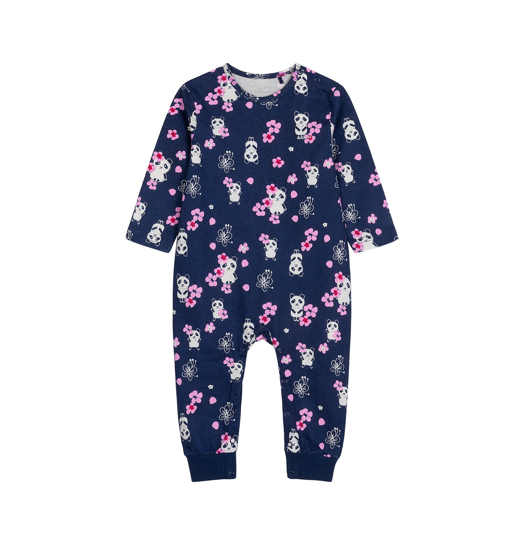 Endo - Pajac dla dziecka do 2 lat, w pandy i różowe kwiatki, granatowy N03N014_1