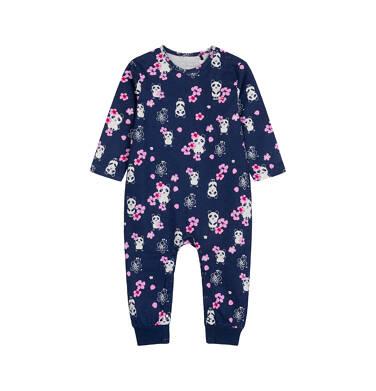 Pajac dla dziecka do 2 lat, w pandy i różowe kwiatki, granatowy N03N014_1