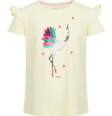 Endo - Bluzka z krótkim rękawem dla dziewczynki, z tanczącym żurawiem, żółta, 2-8 lat D03G013_1