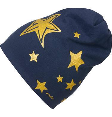 Endo - Czapka dla dziecka, w gwiazdy, granatowa D04R031_1 14