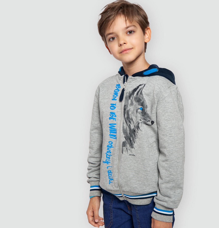 Endo - Rozpinana bluza z kapturem dla chłopca, z wilkiem, szary melanż, 9-13 lat C04C002_1