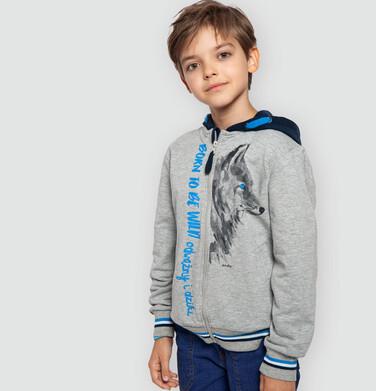 Endo - Rozpinana bluza z kapturem dla chłopca, z wilkiem, szary melanż, 9-13 lat C04C002_1 13