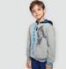 Endo - Rozpinana bluza z kapturem dla chłopca, z wilkiem, szary melanż, 9-13 lat C04C002_1,1