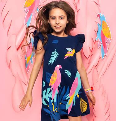 Endo - Sukienka z krótkim rękawem, rękawki z falbanką, z papugami, granatowa, 2-8 lat D06H003_1 14