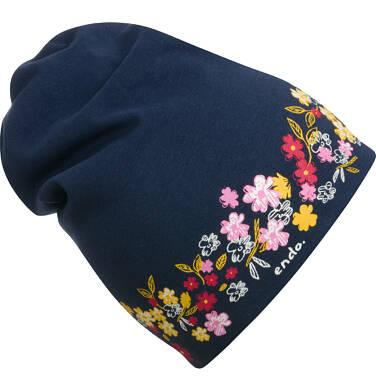 Endo - Czapka dla dziecka, w kwiaty, granatowa D04R032_1 25