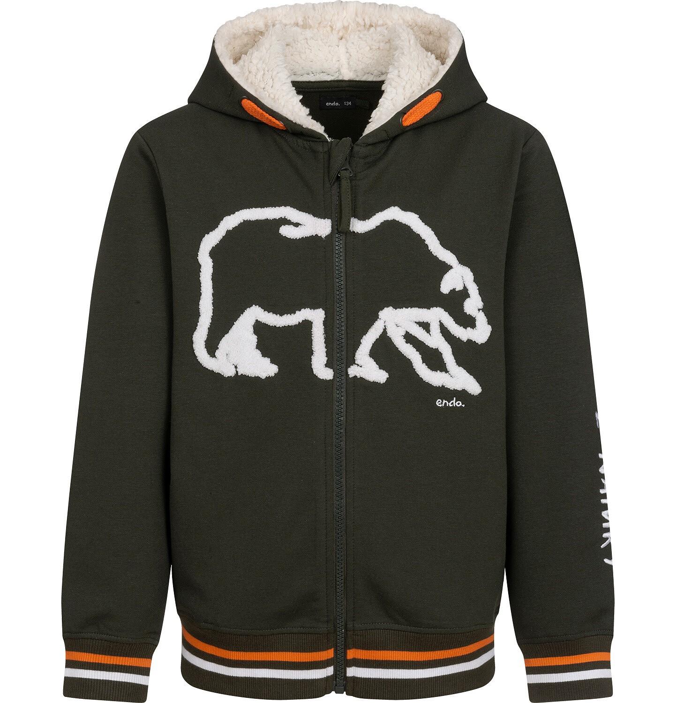 Endo - Rozpinana bluza z kapturem dla chłopca, kaptur podszyty misiem, z niedźwiedziem, brązowa, 9-13 lat C04C018_1