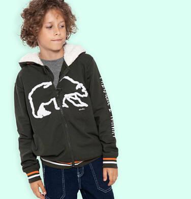 Endo - Rozpinana bluza z kapturem dla chłopca, kaptur podszyty misiem, z niedźwiedziem, brązowa, 9-13 lat C04C018_1 33
