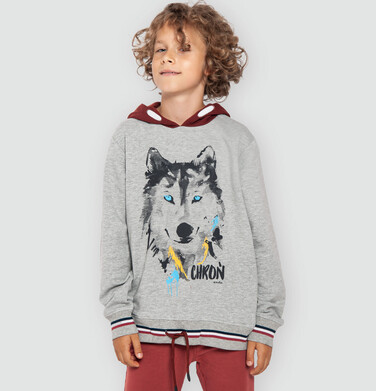 Bluza z kapturem dla chłopca, z wilkiem, szary melanż, 9-13 lat C04C022_1
