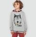 Endo - Bluza z kapturem dla chłopca, z wilkiem, szary melanż, 9-13 lat C04C022_1,1