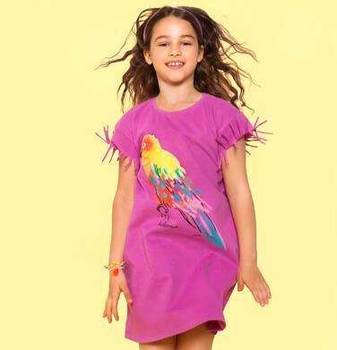 Endo - Sukienka z krótkim rękawem, z frędzlami przy rękawach, z papugą, różowa, 9-13 lat D06H020_2 2