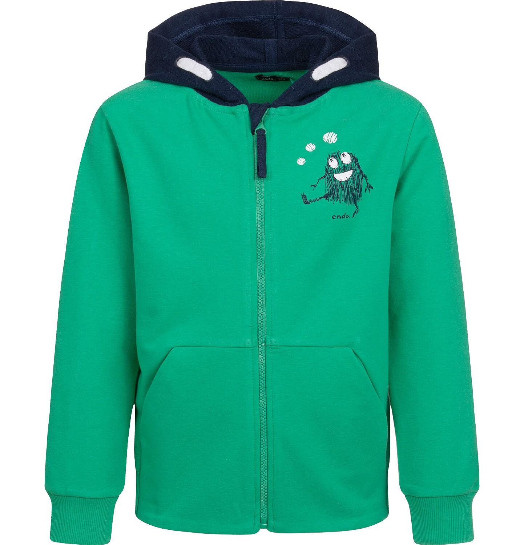 Endo - Bluza rozpinana z kapturem dla chłopca, zielona, 2-8 lat C04C009_1