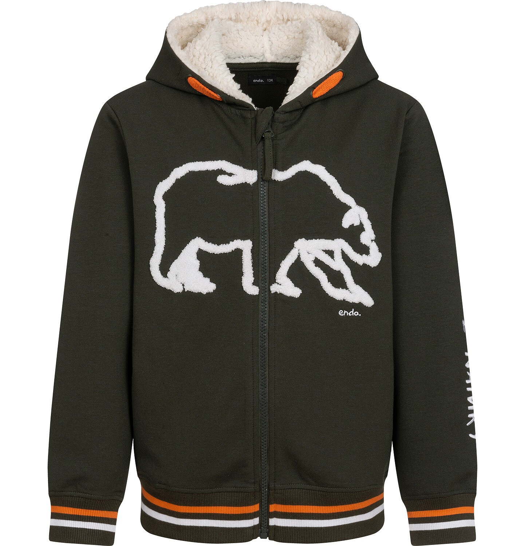 Endo - Rozpinana bluza z kapturem dla chłopca, kaptur podszyty misiem, z niedźwiedziem, brązowa, 2-8 lat C04C053_1