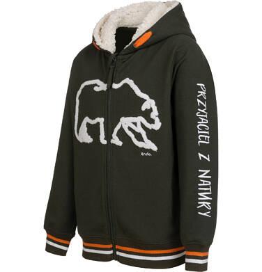 Endo - Rozpinana bluza z kapturem dla chłopca, kaptur podszyty misiem, z niedźwiedziem, brązowa, 2-8 lat C04C053_1,2