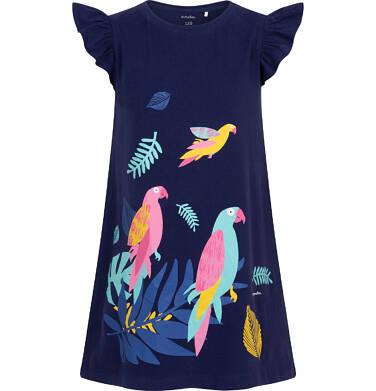 Endo - Sukienka z krótkim rękawem, rękawki z falbanką, z papugami, granatowa, 9-13 lat D06H021_1 19