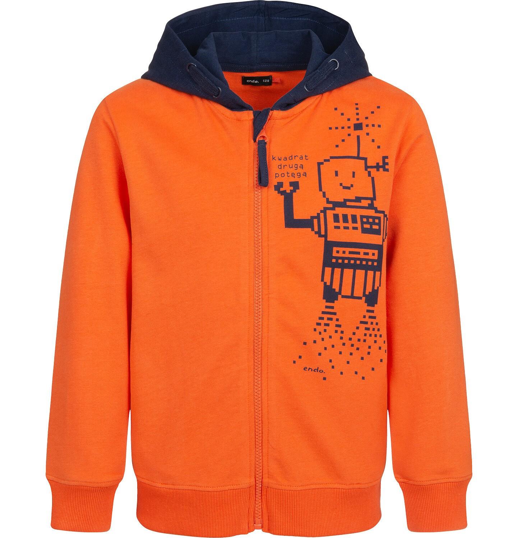Endo - Bluza rozpinana z kapturem dla chłopca, pomarańczowa, 2-8 lat C04C044_1