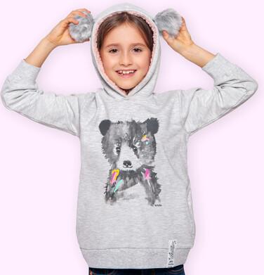 Endo - Bluza z kapturem dla dziewczynki, z misiem, szary melanż, 2-8 lat D04C026_1 8