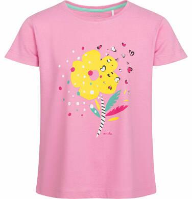 Bluzka z krótkim rękawem dla dziewczynki, z kwiatkiem, różowa, 9-13 lat D03G549_1