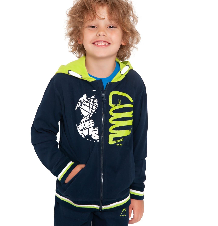 Endo - Bluza rozpinana z kapturem dla chłopca, granatowa, 2-8 lat C04C050_1