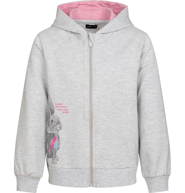 Endo - Rozpinana bluza z kapturem dla dziewczynki, z królikiem, szary melanż, 9-13 lat D04C060_1