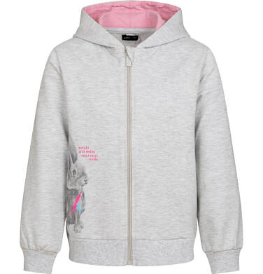 Endo - Rozpinana bluza z kapturem dla dziewczynki, z królikiem, szary melanż, 9-13 lat D04C060_1 7