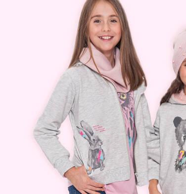Rozpinana bluza z kapturem dla dziewczynki, z królikiem, szary melanż, 9-13 lat D04C060_1