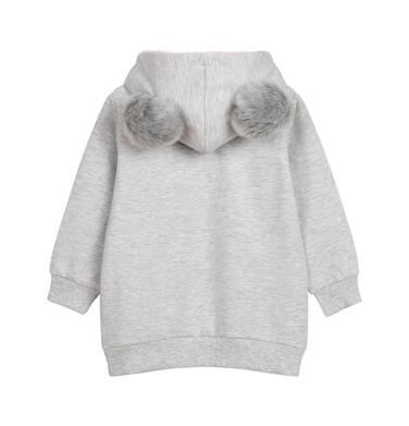 Endo - Bluza z kapturem dla dziecka do 2 lat, z misiem, szary melanż N04C018_1 19