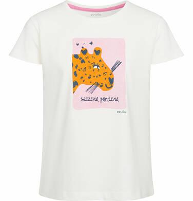Bluzka z krótkim rękawem dla dziewczynki, z panterą, porcelanowa, 9-13 lat D03G551_1