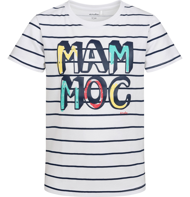 Endo - T-shirt z krótkim rękawem dla chłopca, z napisem, biały w paski, 9-13 lat C05G009_1