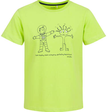 Endo - T-shirt z krótkim rękawem dla chłopca, z komsmitą, limonkowy, 9-13 lat C03G611_1 55