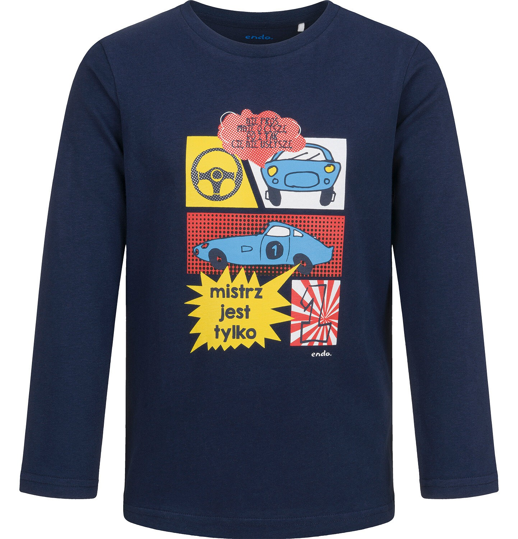 Endo - T-shirt z długim rękawem dla chłopca, z samochodami, granatowy, 2-8 lat C04G191_2