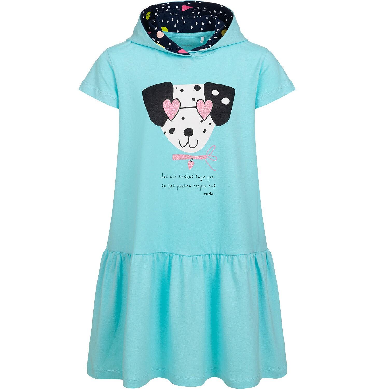 Endo - Sukienka z krótkim rekawem i kapturem, z dalmatyńczykiem, niebieska, 9-13 lat D05H058_1