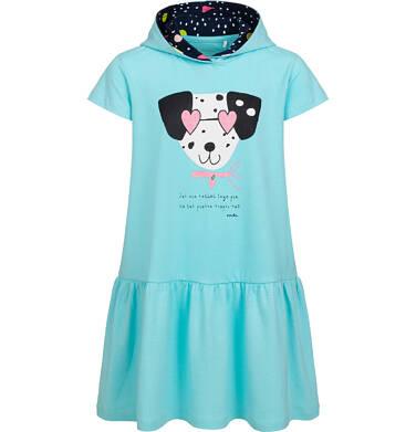 Sukienka z krótkim rekawem i kapturem, z dalmatyńczykiem, niebieska, 9-13 lat D05H058_1