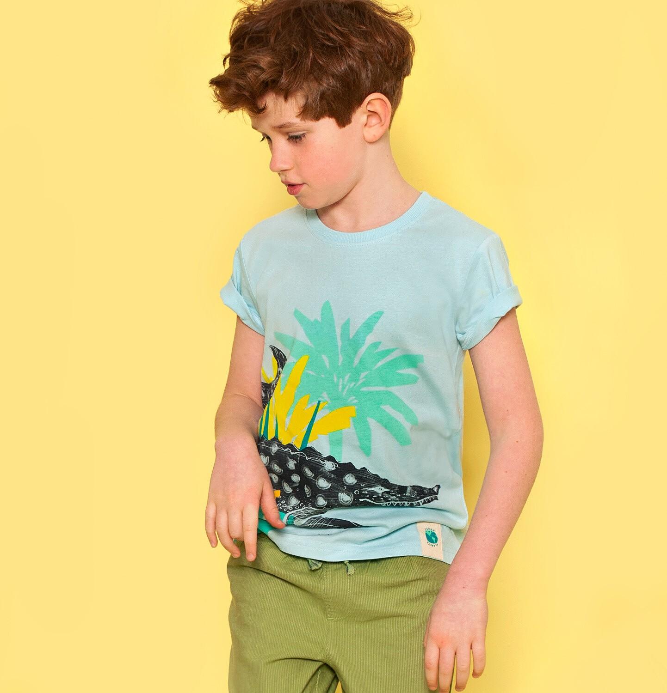 Endo - T-shirt z krótkim rękawem dla chłopca, z kajmanem, niebieski, 9-13 lat C05G063_1