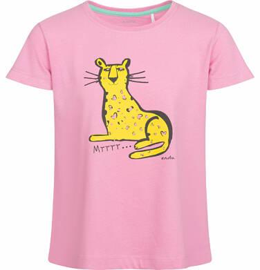Endo - Bluzka z krótkim rękawem dla dziewczynki, Mrrrr, różowa, 9-13 lat D03G552_1
