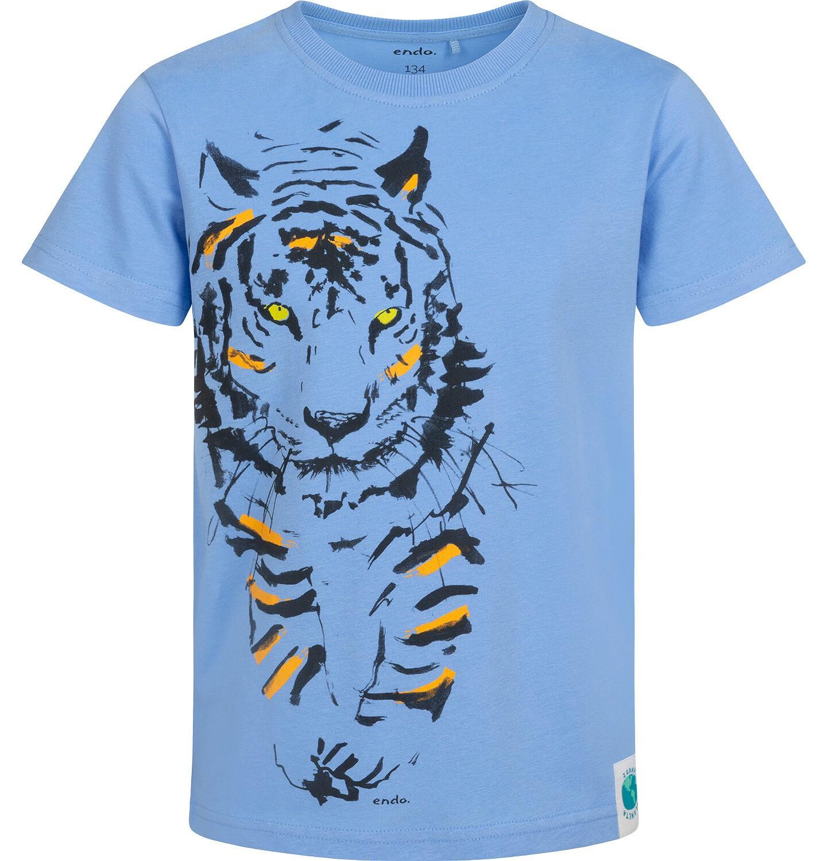 Endo - T-shirt z krótkim rękawem dla chłopca, z tygrysem, niebieski, 9-13 lat C05G072_2