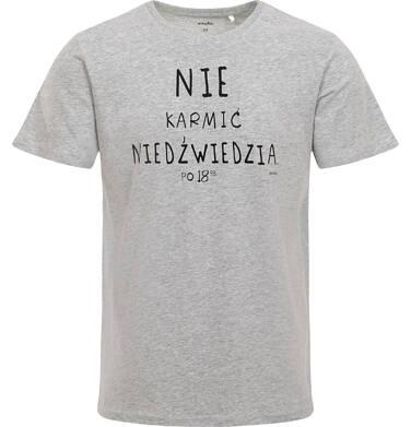 Endo - Męski t-shirt, z napisem nie karmić niedźwiedzia po 18, szary Q06G015_1 2