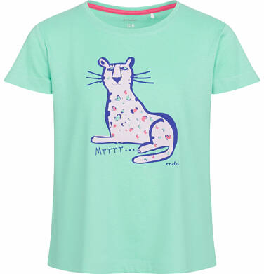 Bluzka z krótkim rękawem dla dziewczynki, z panterą, zielona, 9-13 lat D03G552_2
