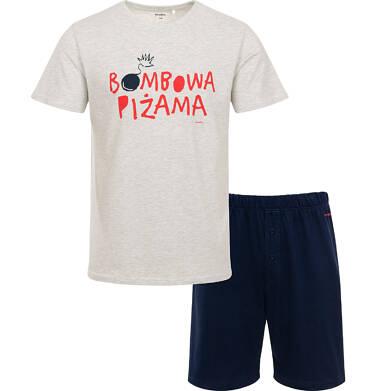Endo - Męska piżama z krótkim rękawem, z napisem bombowa piżama, szara Q06V001_1 4