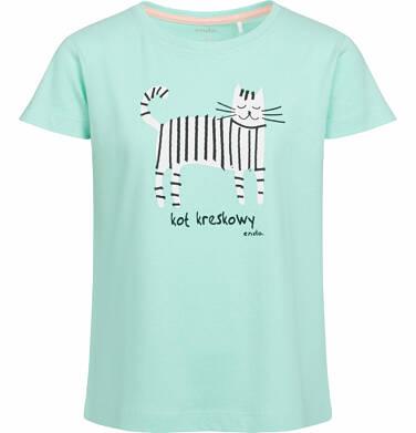 Bluzka z krótkim rękawem dla dziewczynki, kot kreskowy, miętowa, 2-8 lat D03G054_1