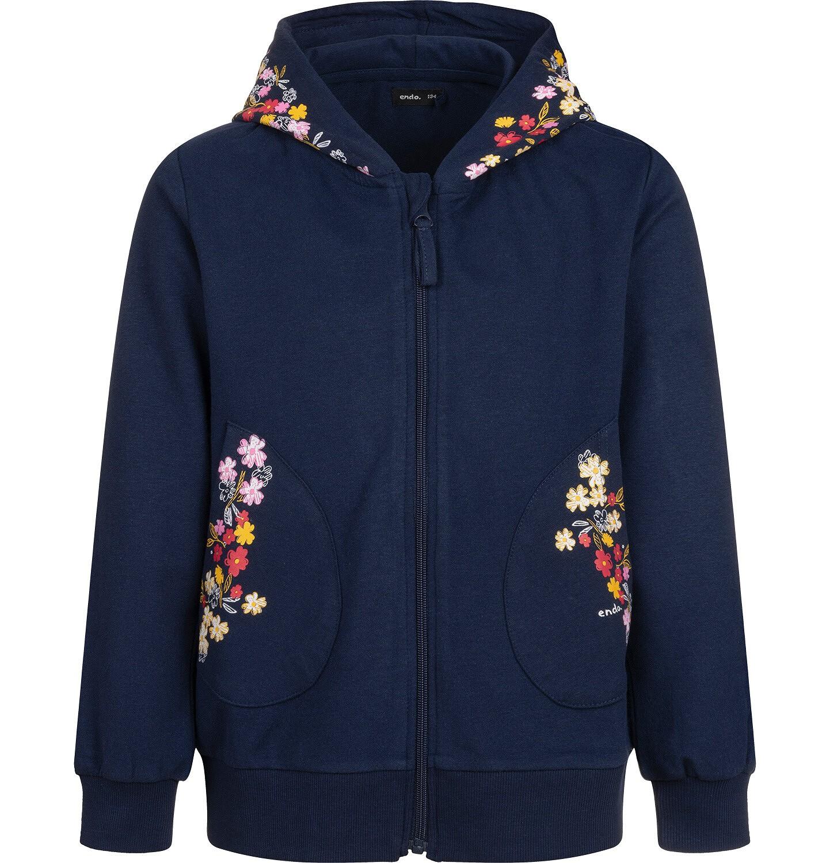 Endo - Bluza rozpinana z kapturem dla dziewczynki, granatowa, 9-13 lat D04C059_1