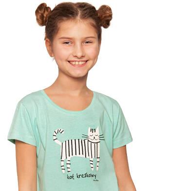 Endo - Bluzka z krótkim rękawem dla dziewczynki, kot kreskowy, miętowa, 9-13 lat D03G554_1