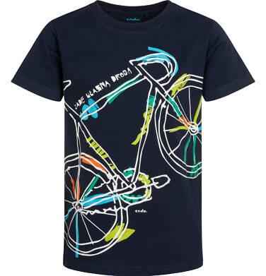 T-shirt z krótkim rękawem dla chłopca, z rowerem, granatowy, 9-13 lat C05G163_1