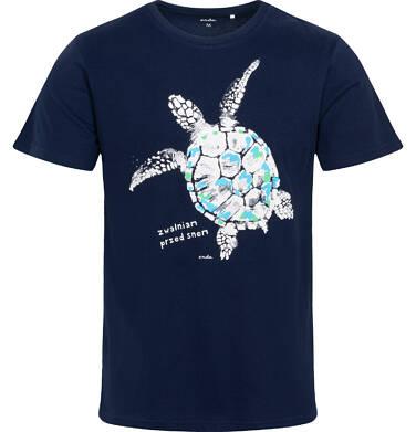 Endo - Męska piżama z krótkim rękawem, z żółwiem, granatowa Q06V003_1 2