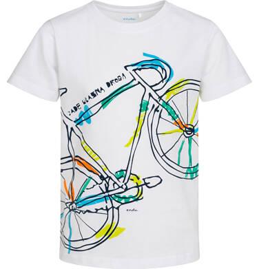 Endo - T-shirt z krótkim rękawem dla chłopca, z rowerem, biały, 9-13 lat C05G163_2 35