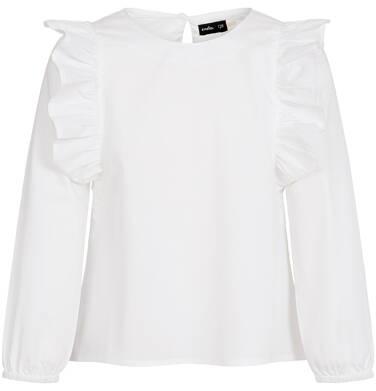 Koszula z długim rękawem dla dziewczynki, z falbankami po bokach, biała, 3-8 lat D92F013_1